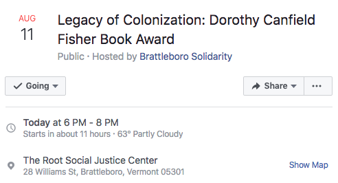 event details legacy of colonization dorothy canfield fisher award vermont